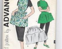 Uncut, Misses Size 12, Medium, Vintage 1950s, Sewing Pattern, Advance 9228, Apron, Cobbler, Full Bib, Half Tie at the Waist, Sew Easy, Tunic