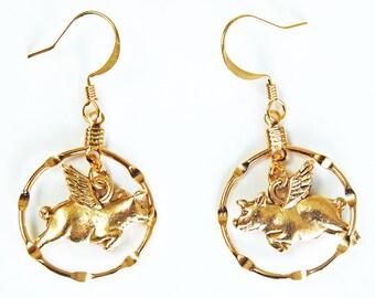 Golden Hoop Flying Pig Earrings, Pigs with Wings Flying Through Hoops Earrings, Pigasus Hoop Earrings, Whimsical Hoop Earrings