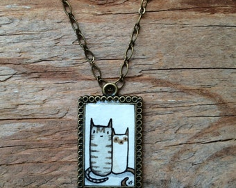 Cat Buddies Necklace - Original Watercolor Hand Painted Pendant Necklace - Kitty Pal Love, Valentines Day