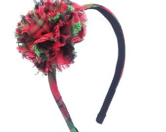 Plaid Christmas Headband w/ Shabby Chic Rosette - Little Girl Headband, Big Girl Headband, Adult Headband - Christmas Red, Green, Black