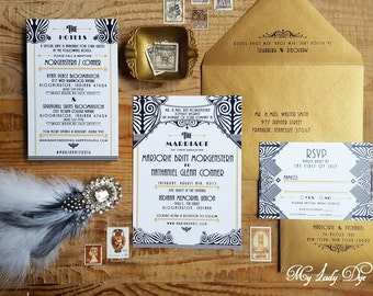 100 Gatsby Wedding Invitations Art Deco Invite Art Nouveau Invite Black and White - The Jacqueline Collection 2 - By My Lady Dye
