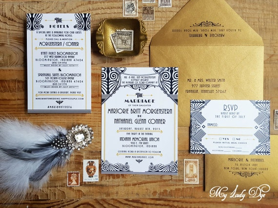 100 Gatsby Wedding Invitations Art Deco Invite Art Nouveau Invite