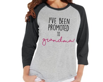 Pregnancy Announcement - Promoted to Grandma Shirt - Grey Raglan Shirt - Pregnancy Reveal Idea - Surprise New Grandparents - Its a Girl