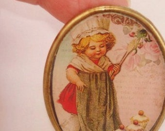 Child Baking Cup Cakes Brooch