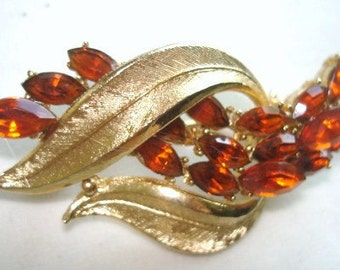Signed Coro Gold tone Topaz  Rhinestone Flower Brooch