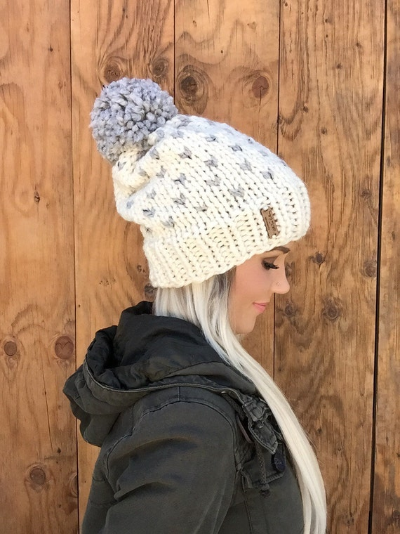Wool Fair Isle Fisherman Cream & Grey Marble Hat w/ Pom Pom