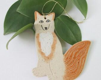 Stoneware Fox Ornament