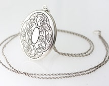 Vintage Roses Silver Locket Necklace, Large Floral Pendant with Long Chain, Etched, Floral Vines, Antiqued