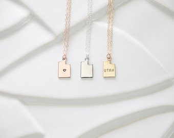 Utah State Necklace, Small State Charm Necklace, Heart Utah Necklace Gold, Utah Charm, Utah Necklace Silver, Utah Pendant Sterling, Bracelet