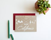 DISCONTINUED - Holiday Greetings from California - Christmas card - Holiday - golden state - screen printed - calligraphy - hanukkah