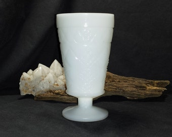Big Top Peanut Butter Milk Glass Footed Fancy Goblet / 1950s Hazel Atlas Gothic Milk Glass Pedestal Iced Tea / MCM Promo Advertising