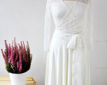 Short lace wedding dress, wedding reception dress, rehearsal dinner dress, white dress, long sleeve lace wedding dress, versatile dress