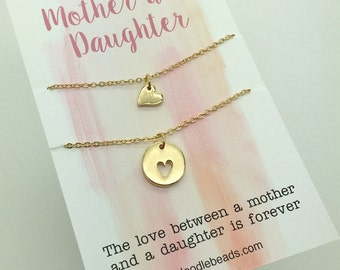 Mother Daughter Necklaces - 2 Small layering Gold Heart Necklaces -  Tiny Gold Heart & cut out heart - choose carded or in a silver gift box