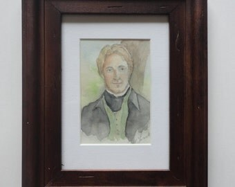 SALE. Colonel Brandon Original Watercolor.  Framed. Sense and Sensibility.  Jane Austen.