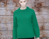 Kelly Green Bright Woman's Hand Knit homemade Sweater pullover S Small