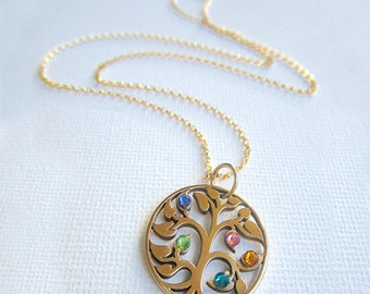 Gold Tree of Life Necklace, Custom Tree of Life Necklace with Birthstone, Birthstone Necklace, Grandma Necklace, Grandma Jewelry,Family Tree