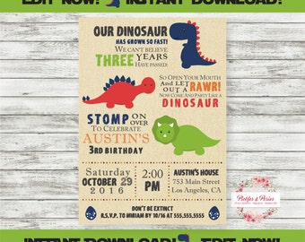 Editable Dinosaur Invitation - Dinosaur Party Invitation - Prehistoric Party  - INSTANT DOWNLOAD - Edit at Home with Adobe Reader Now!