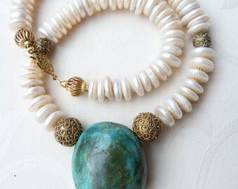 "Huge Natural Turquoise Arizona Mined Nugget Pendant, Pearl Necklace, Senegal ""Gold"" Beads"