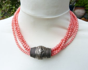 Antique silver Baluch Turkoman hairbead - angelskin coral necklace