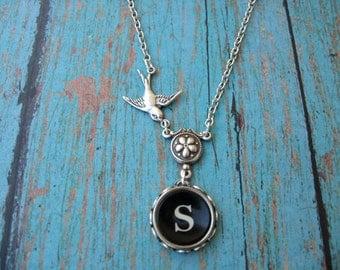 Typewriter Jewelry - Antique Typewriter Key  Necklace - Letter S with Bird