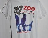 Vintage 90s 1992 U2 ZOO Outside Broadcast Rock Concert Tour T SHIRT Medium M