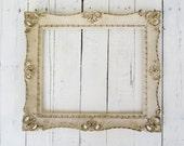 French Country Frame, Vintage Frame, Ivory Fancy Frame, Large Ornate Frame, Shabby Cottage Decor, Paris Apartment, 11x13 Resin Frame