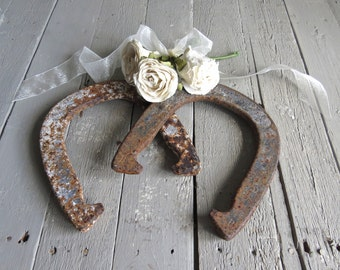 Vintage Iron Horse Shoes, Equestrian Decor, Rustic, Farmhouse, Primitive Decor, Brown Decor, Shabby Cottage Decor, Horse Lover Decor