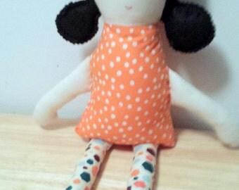 Handmade Black Hair Fabric Keepsake Lollipop Doll
