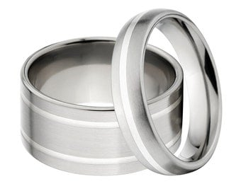 Sterling Silver Inlay Ring,  His & Her's Ring Set: 10F21G-SS, 5HR11G-SS