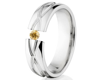 Tension Set Ring, 6mm, Uniquely You, Infinity, Yellow CZ- 6HR-T8-Infinity