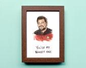 Star Trek Will Riker Illustration - Number One Commander Riker - Star Trek TNG Print - Funny Nerd Portrait Watercolor