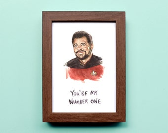 Star Trek Will Riker Illustration - Number One Commander Riker - Star Trek TNG Print - Funny Nerd Portrait Watercolor
