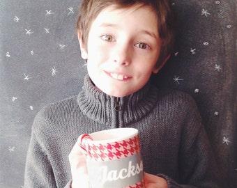 Kids Christmas Mug Hot Cocoa Family Gift Idea Custom Holiday Mug Gift Kids Family Melamine Mug Hot Chocolate Houndstooth Personalized Mug