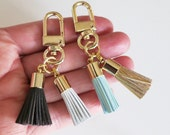 Leather Tassel Purse Charm,Tassel Keychain,Valentines Gift,Mint Blue twin Tassel charm,Keyring Gold,Bag Accessory,Two tassels real Leather