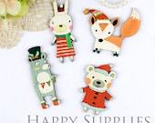 4Pcs Mini Handmade Animal Charms / Pendants (CW037)