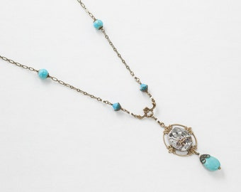 Steampunk Necklace Vintage Silver Watch with Pearls, Blue Turquoise and Gold  Flower Filigree, Leaf Pendant Statement Necklace Jewelry 2958