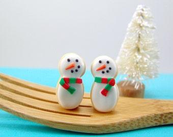 Christmas Earrings // Snowman Earrings // MADE TO ORDER // Post Earrings // Stocking Stuffers