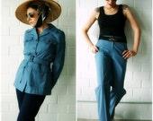 cornflower blue vintage safari suit - 1211045