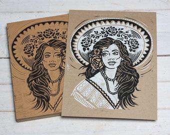 Maria La Rosa - Kraft Block print