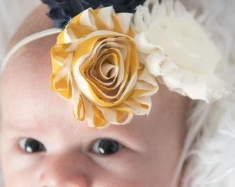 Charcoal headband, Mustard headband. ivory flower headband, cream skinny Elastic Headband, baby headband, photo prop, girl headband, gift