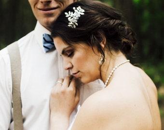 Bridal Side Comb, Wedding Comb, Bridal Hairpiece, Leaf Headpiece, Crystal Hair Comb, Leaf Comb, Pearl Comb, Crystal Comb, Leaf Headband