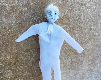 OOAK One of a kind Ghost Ghostly apparition Halloween tree ornament EHAG Leopold