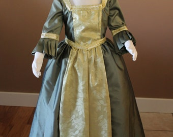 Olive and Gold Marie Antionette Childs Fairy Tale Dress Tudor Renaissance Medieval Costume Gown Size 7 Girls