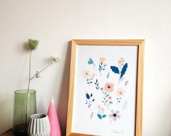 Botanical, Floral poster, floral illustration, art print decor for home - Idea for a gift