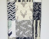 Handmade Baby Quilt-Rustic Woodland-Boy-Navy Blue and Gray Grey-Arrows-Feathers-Buck-Antler-Bear-Deer Patchwork Baby Blanket-Baby Bedding
