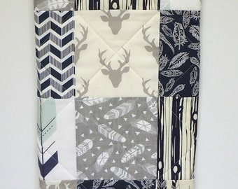 Baby Quilt-Rustic Woodland-Boy-Navy Blue and Gray Grey-Arrows-Feathers-Buck-Antler-Bear-Deer Patchwork Baby Blanket-Baby Bedding
