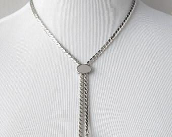 Monet Slide Necklace,  Monet Bolero Necklace, Tassel  Necklace, Monet Necklace, Silver Necklace, Adjustable Necklace