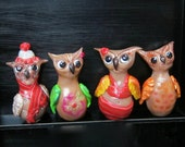 Miniature Brown Owl Figurines. Four Seasons Totems. Winter, Spring, Summer, Fall. Polymer Clay Sculpture Set of 4