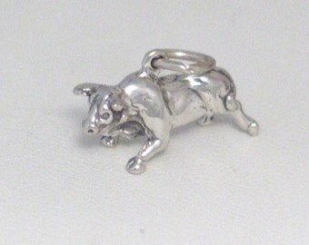 Sterling silver 3-D traditional bull cow cattle farm running of the bulls matador network theme bracelet charm / necklace pendant