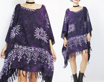 Draped Caftan Dress Purple Tie Dye Dress Hippie Boho Kaftan Dress Beach Swim Cover Up SUNS Draped Slouchy Ethnic Fringe Caftan Top (L/XL)